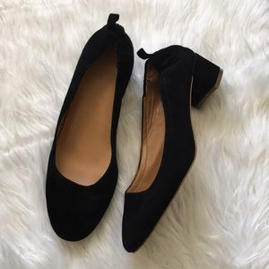 J crew black leather block heels 9.5